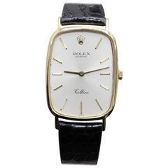Rolex Cellini 4113 18 Karat Yellow Gold with Black Leather Band