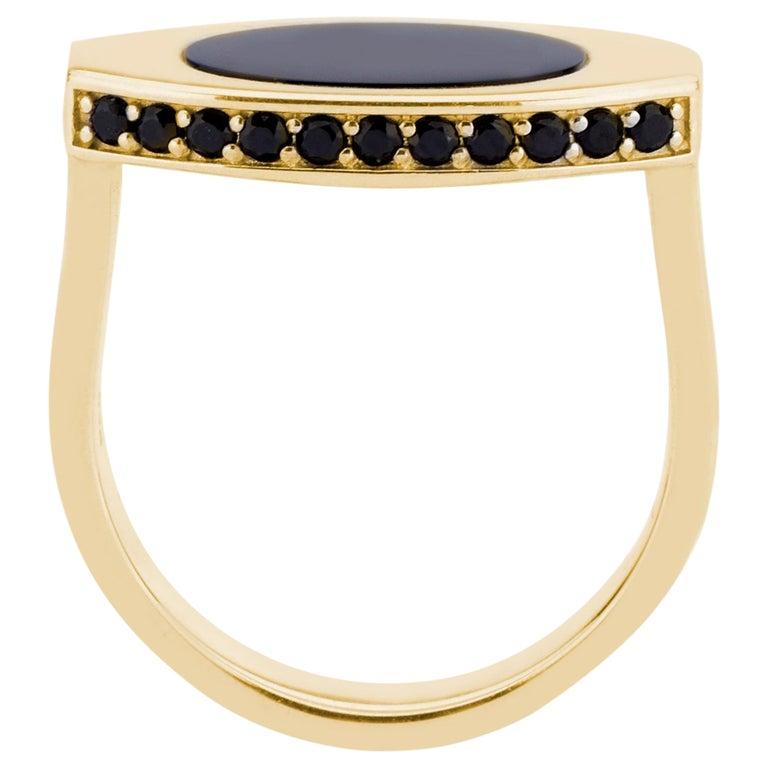 14 Karat Yellow Gold and Black Onyx Oblong Signet