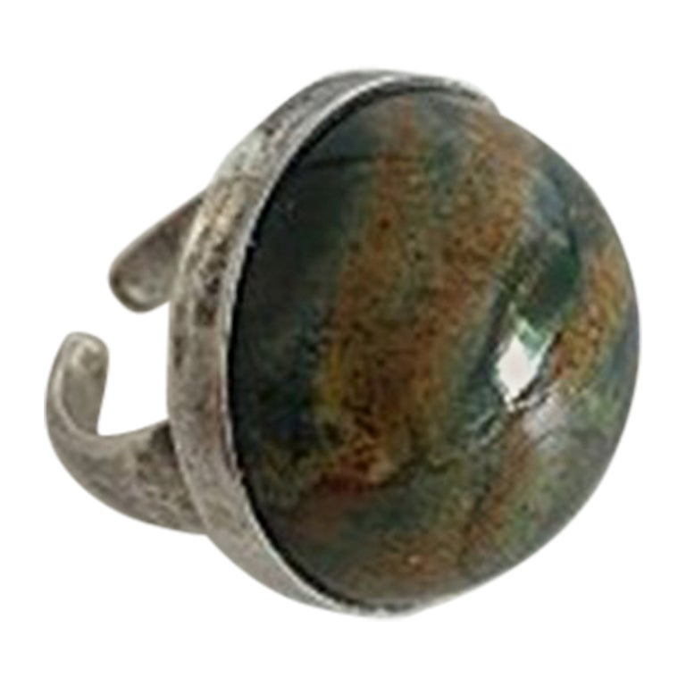 Georg Jensen Sterling Silver Ring with Stone No 90C