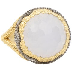 Armenta 18 Karat Old World Chalcedony and Diamond Ring, Style 10286