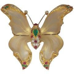 1970s 18 Karat Rock Crystal Ruby Emerald Sapphire Diamond Butterfly from Capri