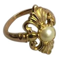 Georg Jensen 14 Karat Gold Ring with Pearl No 106