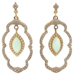 Armenta Old World Dangle Earrings Diamond Chrysoprase and Moonstone, Style 09245