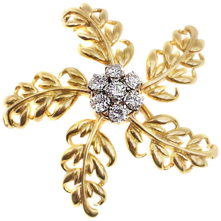 Verger Freres French 1950s Diamond Gold Brooch For Sale