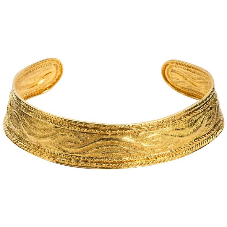 Ilias Lalaounis 18 Karat Gold Textured Gold Choker Torque Collar