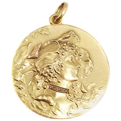 Art Nouveau French Gold Diamond Medallion Pendant