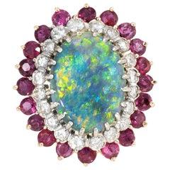 Black Opal Ruby Diamond Cocktail Ring Vintage 14 Karat Gold Estate Jewelry