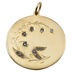 Antique Lily of the Valley Gold and Diamond Charm