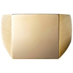 18 Karat Yellow Gold Square Signet Ring