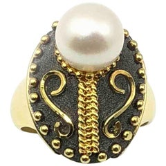 Georgios Collections 18 Karat Yellow Gold Byzantine Style White Pearl Ring
