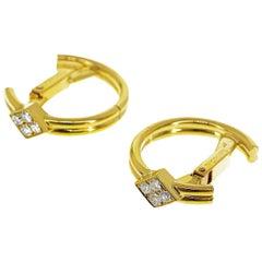 Cartier 8P Diamonds Gold Cufflinks 18 Karat Yellow Gold