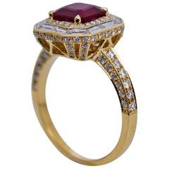 GRS Certified 1.98 Carat Burma Ruby Ring