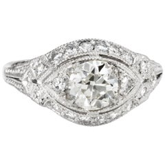 Antique Deco Diamond Engagement Ring Platinum Vintage