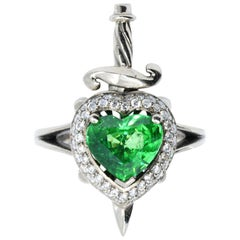 18kt White Gold, 1.5 Carat Tsavorite Garnet and 0.3 Carat Diamond Ring