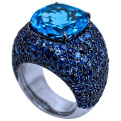 14.24 Carat London Blue Topaz Ring