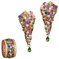 Rose Gold and Diamond Multicolored Sapphires Earrings and Band Ring Suite