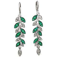 Emerald and Diamond Leaf Earrings