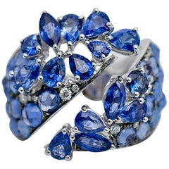 Sapphire and Diamond Twisted Ring