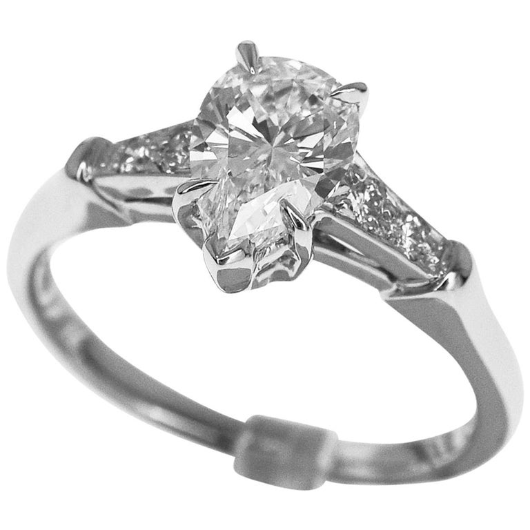 Harry Winston Pear Shaped 0.70 Carat Diamond Tryst Ring Platinum Ring