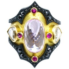 18 Karat Yellow Gold, Sterling Silver, Kunzite, Ruby, Diamond Ring