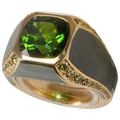 5.04 Carat African Tourmaline Natural Green Diamonds and Green Ceramic Ring