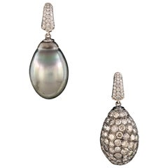 Tahiti Pearl of 42.48 Carat and Mirror Image with Diamonds 11.21 Carat Earrings