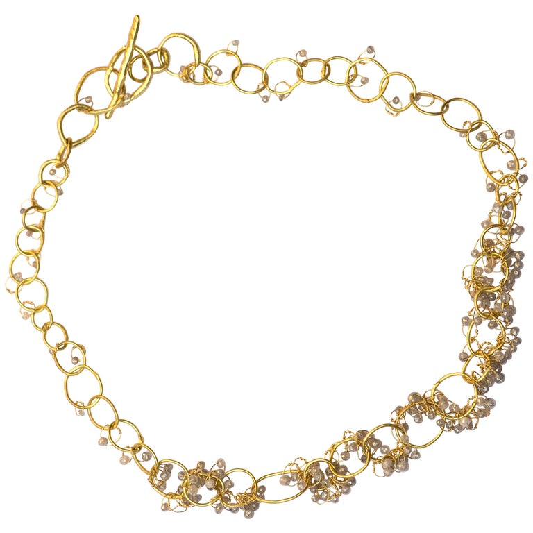 18k Gold Grey Diamond Handmade Chain Necklace For Sale