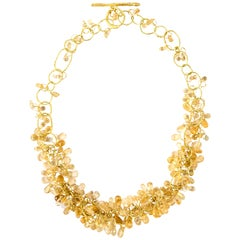 18k Gold Handmade Chain Necklace with Citrines