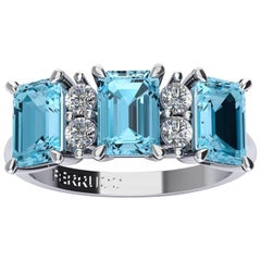 Ferrucci Three Blue Topazes and Diamonds Ring in 18 Karat White Gold
