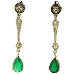 Art Deco 18 Karat Gold Ladies Stud/Clip-On Earrings with Emeralds and Diamonds