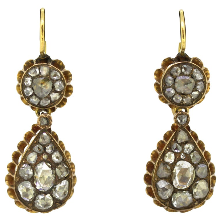 Victorian 15 Karat Yellow Gold Ladies Earrings with Diamonds, circa 1850s For Sale