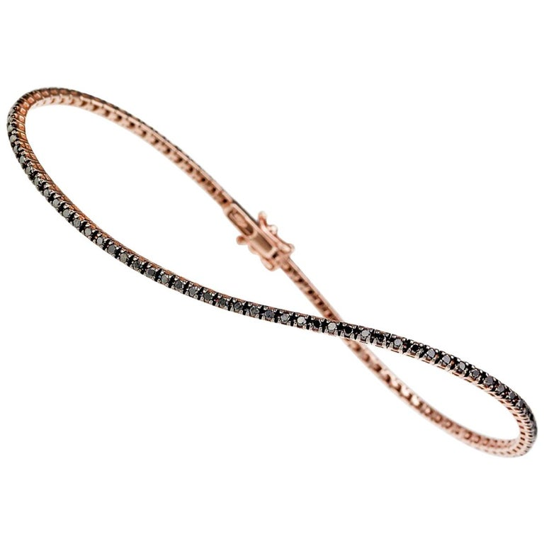Thin Pink Gold and Black Diamond Infinite Tennis Bracelet For Sale