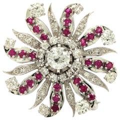 Art Deco Diamond and Ruby Sunburst Brooch