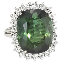 Large Green Tourmaline Diamond Cocktail Ring Vintage 14 Karat White Gold