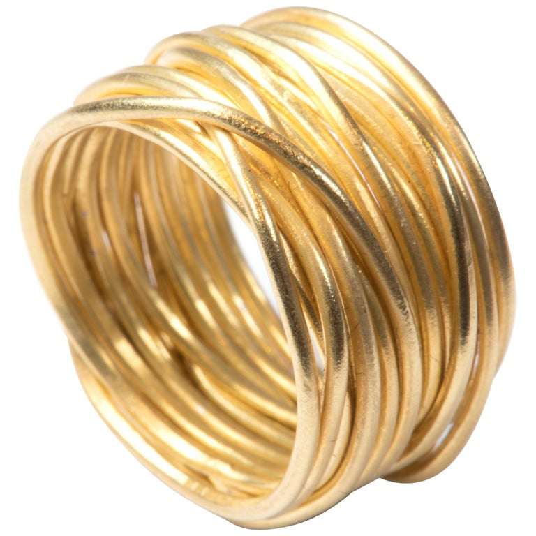 18k Gold 'Spaghetti' Wrapped Wire Ring Handmade by Disa Allsopp For Sale