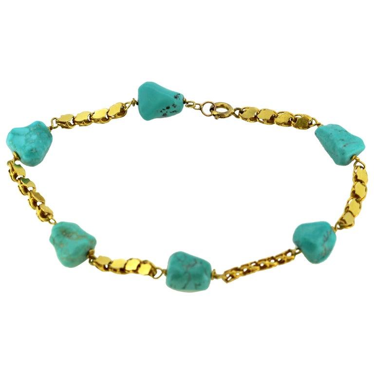 Vintage 18 Karat Gold Ladies Bracelet with Turquoise, circa 1970