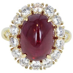 Estate Van Cleef & Arpels 9.42 Carat Cabochon Ruby and Diamond Cluster Ring