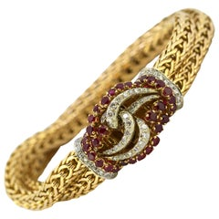 Vintage 18 Karat Gold Ladies Bracelet with Rubies and Diamonds, circa 1970