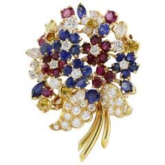 Tiffany & Co. Multi Gem Floral Pin