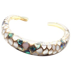 Angela Cummings White and Green Mother-of-Pearl Snakeskin Gold Collar Necklace