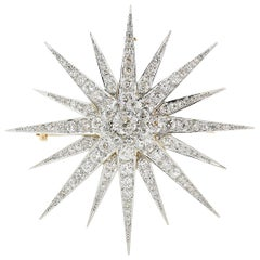 10 Carat Diamond Edwardian Star Burst Pin