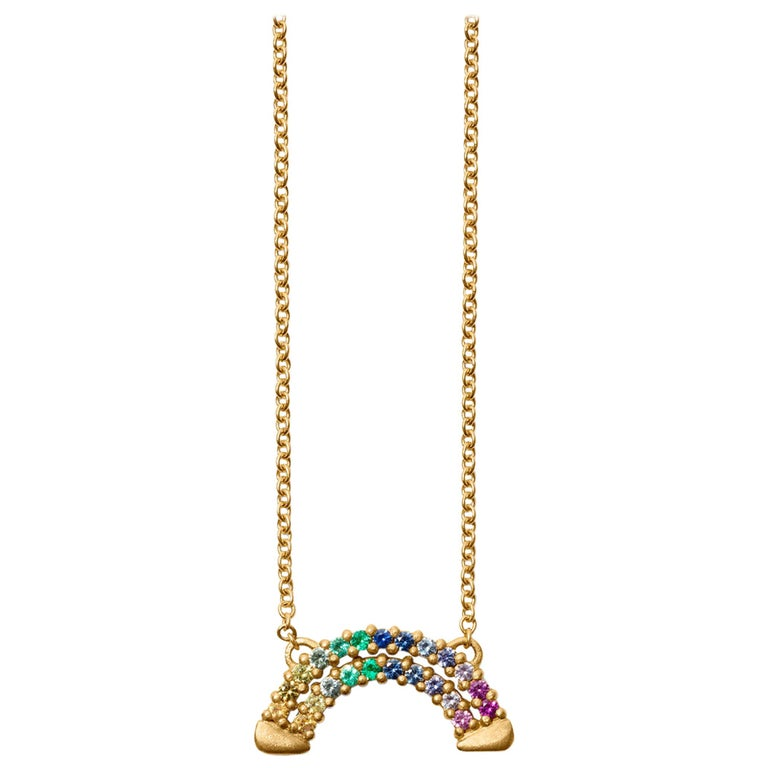 Gold Multicolored Sapphire Rainbow Necklace