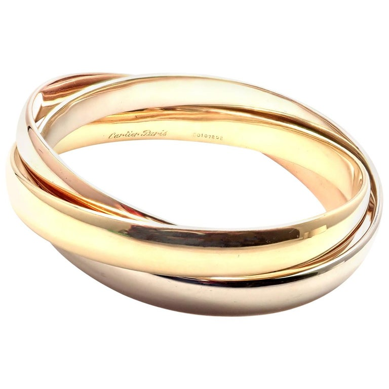 Cartier Trinity Rolling Large Model Tricolor Gold Bangle Bracelet