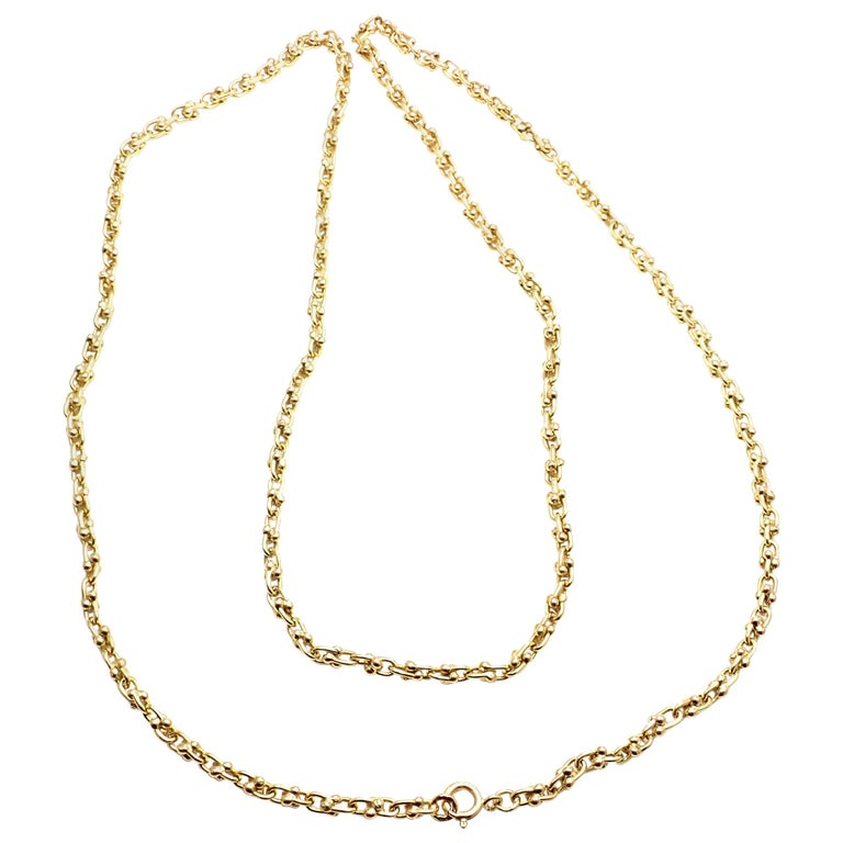 Vintage Van Cleef & Arpels Long Link Yellow Gold Chain Necklace