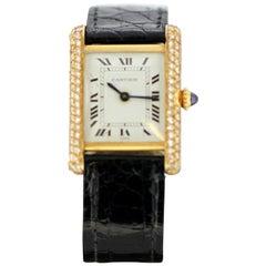 Ladies Cartier Tank Louis Watch in 18 Karat Gold and Bezel Set with Diamonds