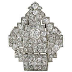 Platinum Diamond Edwardian Single Clip Brooch Pin
