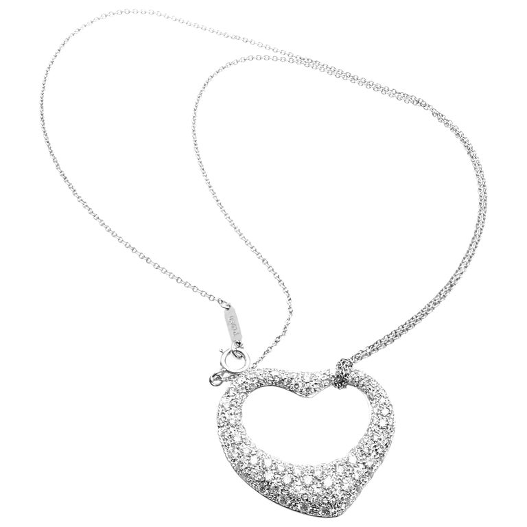 Tiffany & Co. Elsa Peretti Platinum Diamond Open Heart Pendant Necklace