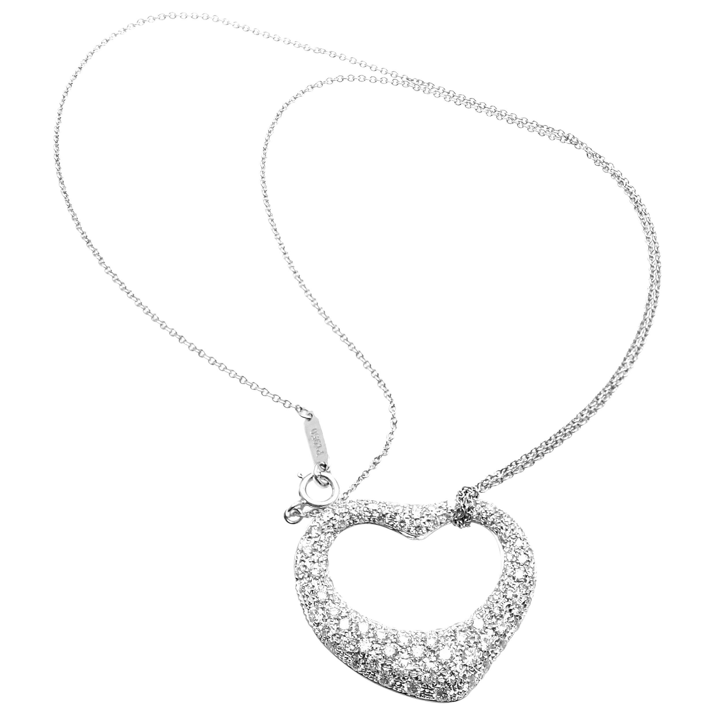 df010f286 Tiffany and Co. Elsa Peretti Platinum Diamond Open Heart Pendant Necklace  For Sale at 1stdibs