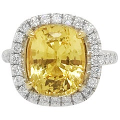 No Heat Ceylon 6.62 Ct. Cushion Cut Yellow Sapphire & Diamond Ring Lab Certified