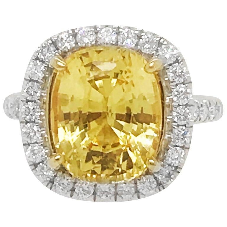 No Heat Ceylon 6.62 Ct. Cushion Cut Yellow Sapphire & Diamond Ring Lab Certified
